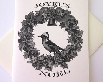 Joyeux Noel Wreath with Bird Note Card Set of 10 in White or Light Ivory with Matching Envelopes