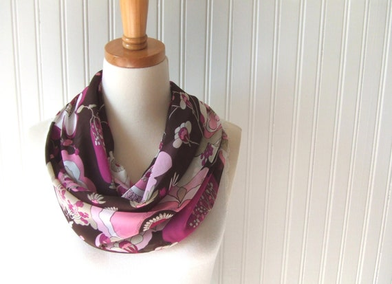 Floral Chiffon Infinity Scarf in Brown and Pink - Spring and Summer Fashion