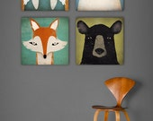 4 Native Vermont  Stretched CANVAS Baby Nursery wall art signed Fox, Polar Bear, Black Bear, Walrus Fowler