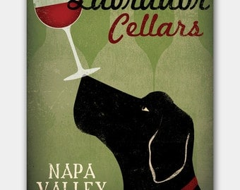 Made to Order 20x26 Custom LABRADOR Cellars Vineyard Wine Company Stretched Canvas Wall Art  Signed by artist