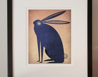 The BLACK RABBIT Indigo Framed graphic art giclee print 13.5 x 15.5 signed WHITE Frame also available 7x9 Print Size