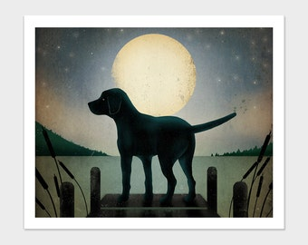 Moonrise Black Yellow or Brown Dock Dog Graphic Art Illustration Giclee Print 8X10 Signed AS IS no CUSTOMIZATION