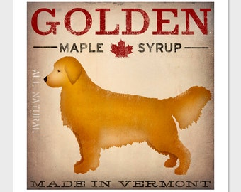 GOLDEN Retriever Maple Syrup giclee print Signed