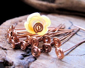 Handmade Copper Spiral Head Pins 20 gauge - Artisan Swirl Headpins 1.5 inch - Hand Crafted Findings 10 pcs - Copper Eye Pins - top Spirals