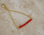 Dainty crystal bracelet, gold jewelry, coral crystals, gold plated chain Minimalist