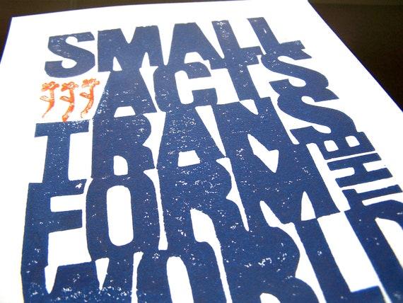 LINOCUT PRINT - Small acts transform the world - Howard Zinn PURPLE letterpress poster 8x10