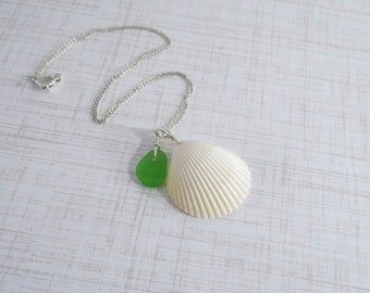 Lime Green Sea Glass and White Shell Necklace on Sterling Silver Chain