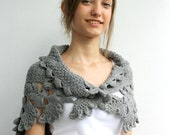 Gray Knit Capelet / Knitted Grey Shawl / Knitting Gray Scarf / Knit Grey Scarf / Christmas gift / Gift for Her / OUTDOORS GIFT