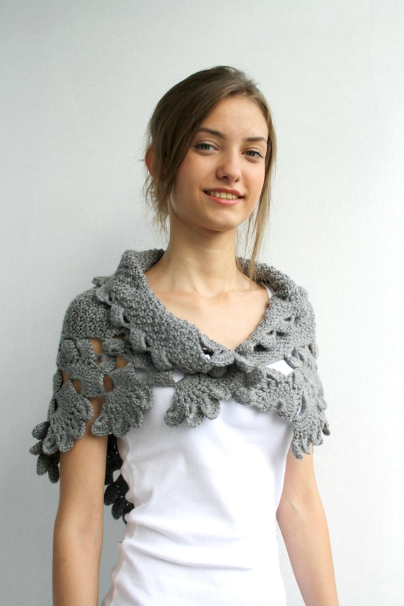 Grey Capelet Shawl Scarf Christmas Gift Under 75 For Her FOR Women For Mom