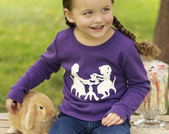 WINTER SALE! 50% off Vintage Tea Party Nostalgic Graphic Tee in Long Sleeves - Purple with White