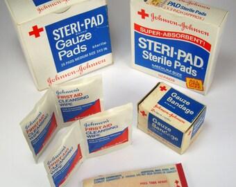 First Aid Bandaid Gauze Collection, Johnson & Johnson, Set of Six, Gauze pads, Cleansing Wipes, Gauze Bandage, Steri-Pads