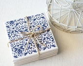 Blue & White Floral Pattern Tile Coasters - RedGiraffeDesigns