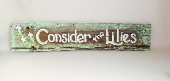 LILIES Old Wooden Barn Siding Handpainted Sign