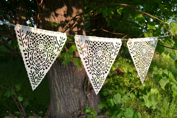 Laser cut lace bunting