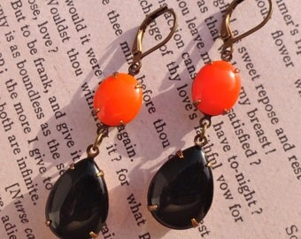 Halloween Earrings Milk Glass Rhinestones Orange Black Vintage Retro Pinup Double Drop Halloween Party Costume Old Hollywood Glam