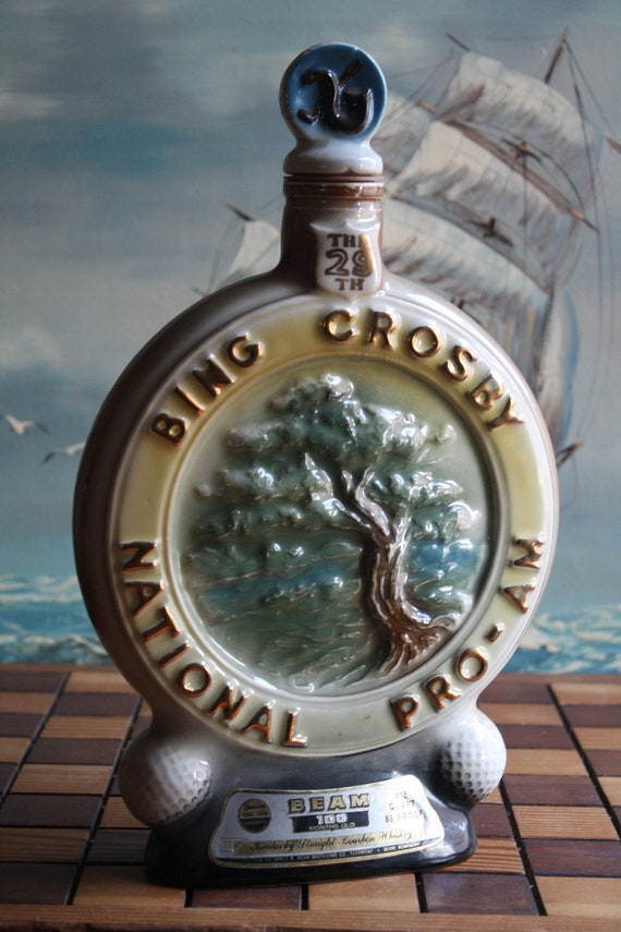 Jim Beam Bing Crosby Golf Whiskey Decanter 1970