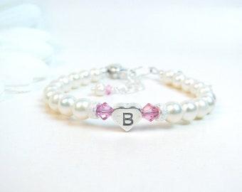 Baby Girl Bracelet // Baby Bracelet // Pearl Baby Bracelet // Baptism Bracelet // Christening Bracelet // Little Girl Bracelet // Initial