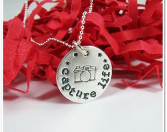 Hand Stamped Necklace - Capture Life Sterling Silver Charm Necklace