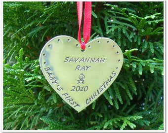 Personalized Ornaments - Baby's First Christmas - Keepsake Christmas Ornament - Hand Stamped Copper