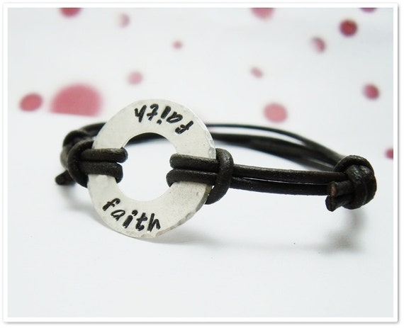 Sterling and Leather Bracelet for Women - Sterling Silver  Washer with Adjustable Leather Cord- Fathers Day - Gifts for Dad