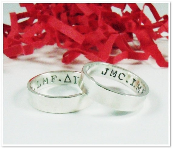 Hand Stamped Best Friends Ring Set - Sterling Silver 4mm x 1mm