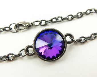 Multi Color Bracelet Modern Chain Bracelet Gunmetal Dark Silver Jewelry Crystal Blue Purple