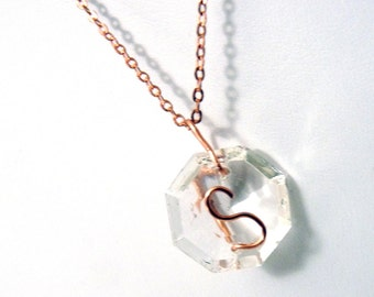 Letter S Crystal Initial Necklace- Copper - small- Upcycled antique chandelier prism pendant- Reclaimed Beauty