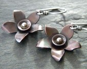 Copper Flower Earrings Sterling Silver Dark Coppery Brown Patina Large Mixed Metal Artisan Jewelry