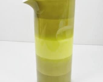 Vintage porcelain Pitcher Green to Yellow Variegated Stripes VASE