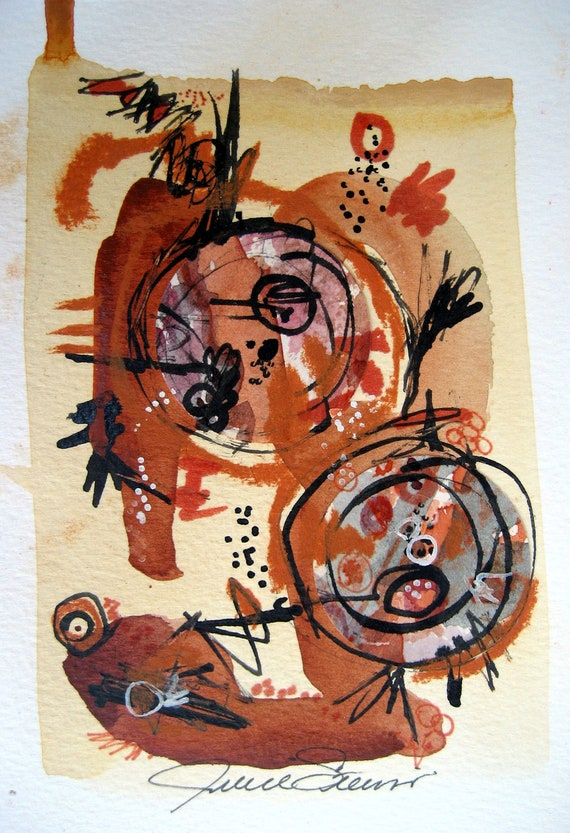 Contemporary Art Abstract Original Fine Modern Expressionist Circles Neutral Colors Brown