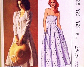 mccalls pattern 2398  - laura ashley lined jacket and dress - (1986) - UNCUT