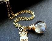 Owl Necklace, Gold Necklace, Mystic Champagne Quartz Briolettes, 14K Gold Owl Charm - Who
