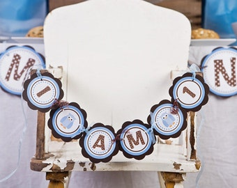 Owl Birthday Party -  I AM 1 MINI BANNER - Owl Theme Happy First Birthday Party Decoration, Owl Boy Birthday Decorations in Blue & Brown