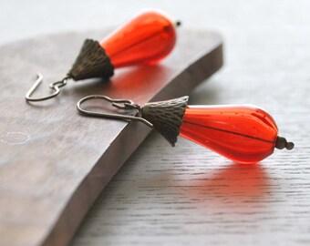 Red Teardrop Hollow Glass Earrings