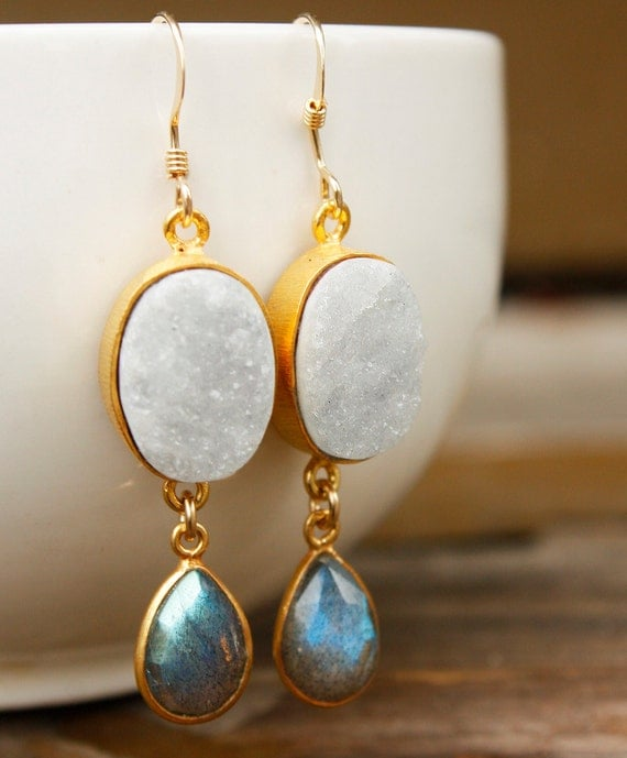 White Onyx Druzy and Blue Labradorite Earrings - 14KT Gold Fill - The Northern Lights