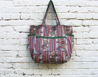 Provincial Stripes Large Upcycled Weekender - 1980's Ornate Victorian Inspired Cotton Market / Shopper / Diaper Bag - Winter - Eco Fashion
