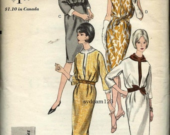 Vintage 1964 Collarless Bloused Dress or Cowl Neck or Flat Collar Blouse...Vogue 6275 Bust 32 UNCUT