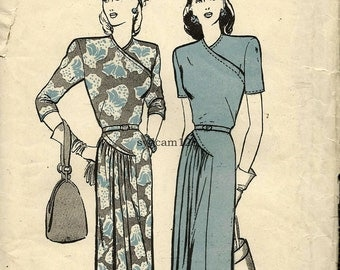 Vintage 1940s Wrap Bodice Dress Pattern Side Pleated Gathered Skirt Curved Seams 1945 Butterick 3509 Bust 30 UNCUT