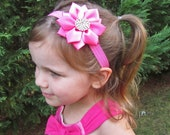 Hot Pink Flower Headband - Hot Pink Satin Flower with Rhinestones Stretchy Headband or Hair Clip, Baby Toddler Child Girls Headband
