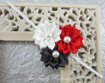 Satin Flower Headband, Red Black & White Satin Flower Trio w/ Pearls Headband - The Emily - Minnie Insp., Baby Toddler Child Girls Headband