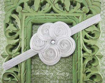 White Flower Headband, Posh White Beaded Satin Flower Headband or Hair Clip, Baptism, Christening, Wedding, Baby Child Girls Headband