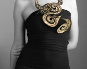 Black Metallic Golden Scarf - Exuberance Necklace ( Jewelry, Textile, Accessories, Scarf, Silk Cotton, Hand Painted )