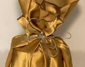 Reusable Gift Wrap - Golden Satin - Furoshiki-Style Small Square - Eco-Friendly