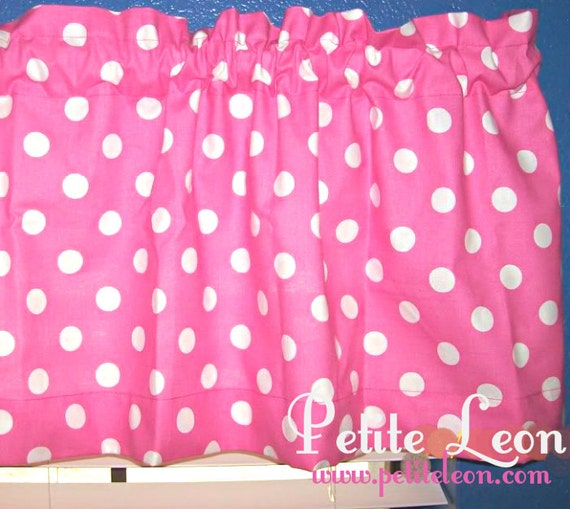 Hot Pink And White Polka Dot Retro Window Curtain Valance