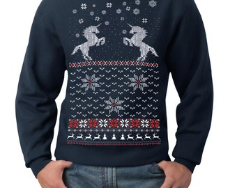 Ugly Christmas sweater -- Unicorn sweater sweatshirt- pullover sweatshirt -- s m l xl xxl xxxl
