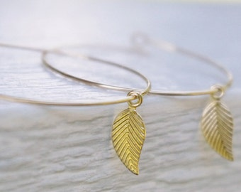 Gold Filled Leaf Earrings, Nature Inspired Jewelry, Simple Modern Minimal Hoop Earrings, Tiny Gold Leaf Charm with Texture, Gifts For Her