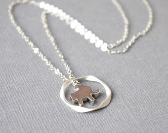 Tiny Elephant Twisted Hoop Necklace, Elephant Pendant Necklace, Lucky Baby Elephant Sterling Silver Necklace, Gifts For New Mother