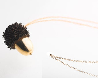 24K Gold Acorn necklace with shell handmade
