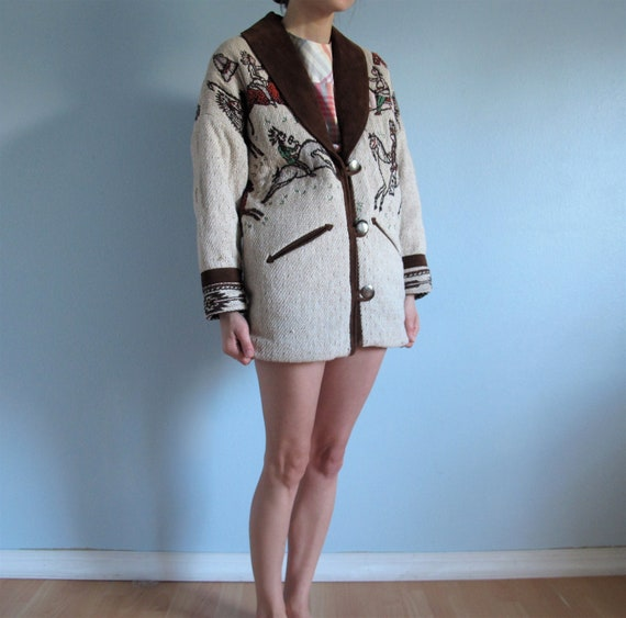 Pioneer Wear Southwestern Sweater Coat Jacket Cowboys and Indians with Fringe