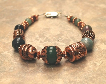 Copper with Shades of Green Beaded Bracelet